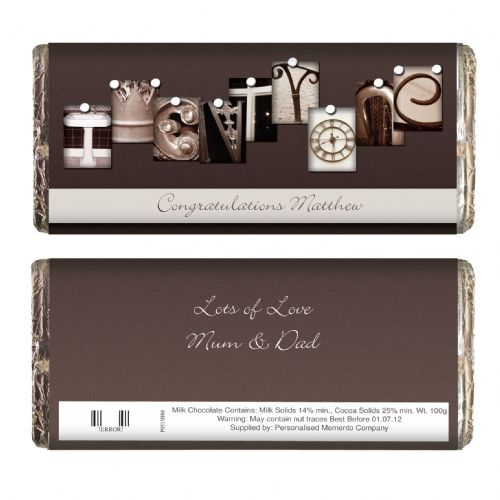 Personalised Affection Art Twenty One Chocolate Bar